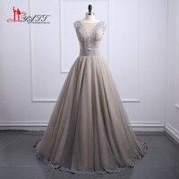 New Long Evening Dresses 2017 Lace See Through Ball Gown Tank Sleeveless Vestidos De Noche Arabic