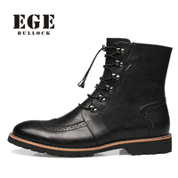 British Style Zip Fashion Autumn Men Boots,Plus size Handmade Genuine Leather Ankle Boots,High Quality Pointed toe Male   Shoes