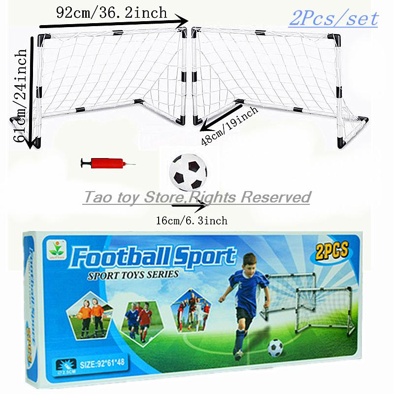 NEW Portable Children 2PC/SET Football Soccer Goal Net With ball Pump Kids mini Football Gate Toy Sport