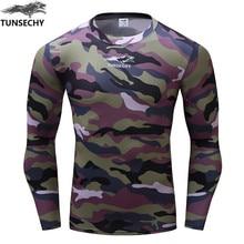 TUNSECHY Brand Fashion Camouflage T-shirt High Quality Quick Dry 3d Digital Print Round Neck Long Sleeve Men T-shirt