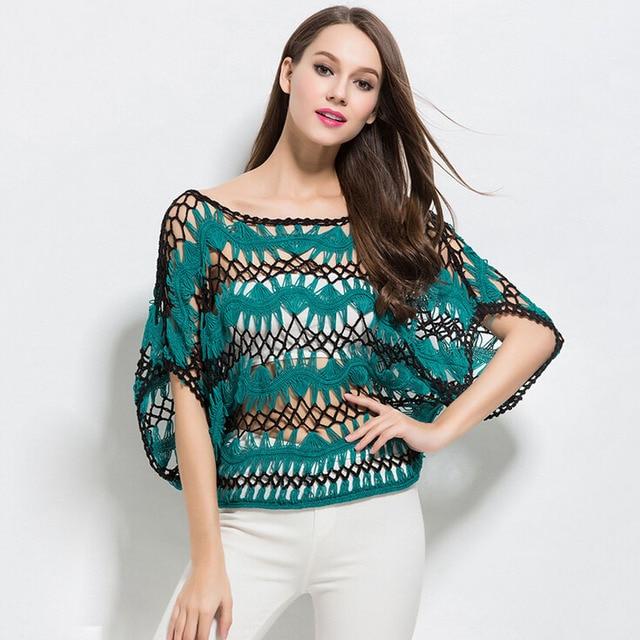 Women Summer Boho Sexy Hollow Knitted Crochet Tops Blouse Shirt Patchwork Batwing Sleeve Beach Beach Shirt Blusas New Clothing