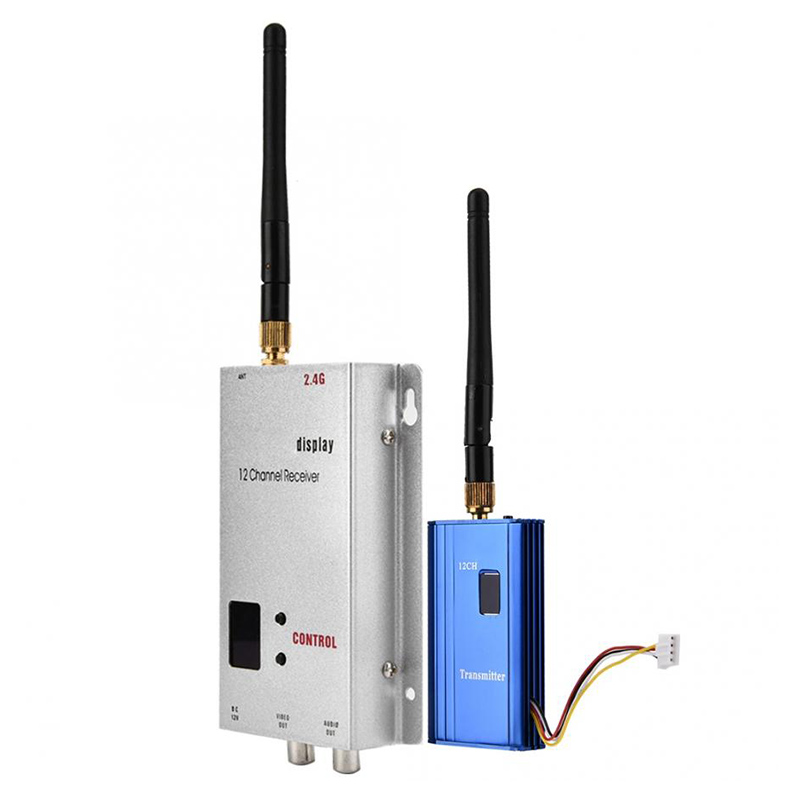 2.4G 1000mW AV Transmitter & Receiver Combo 1W 2.4GHz 12CH CCTV Monitoring Transceiver Video Image Sender for RC Aircraft