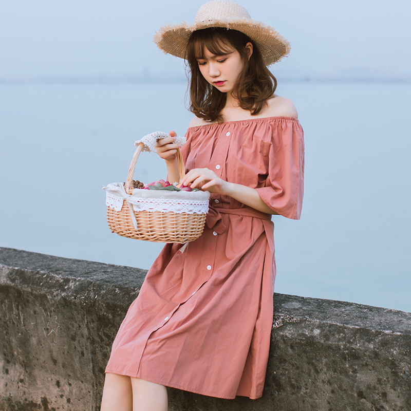 Mori Girl Cotton and Linen Dress 2018 New Fashion Women Slash Neck A-line Dresses Solid Color Sweet Shirt Vestidos S M L