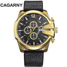 Cagarny Mens Quartz Watches Luxury Brand Leather Watchband Watch Military Wristwatch Date Clock Fashion Man Relogio Masculino все цены