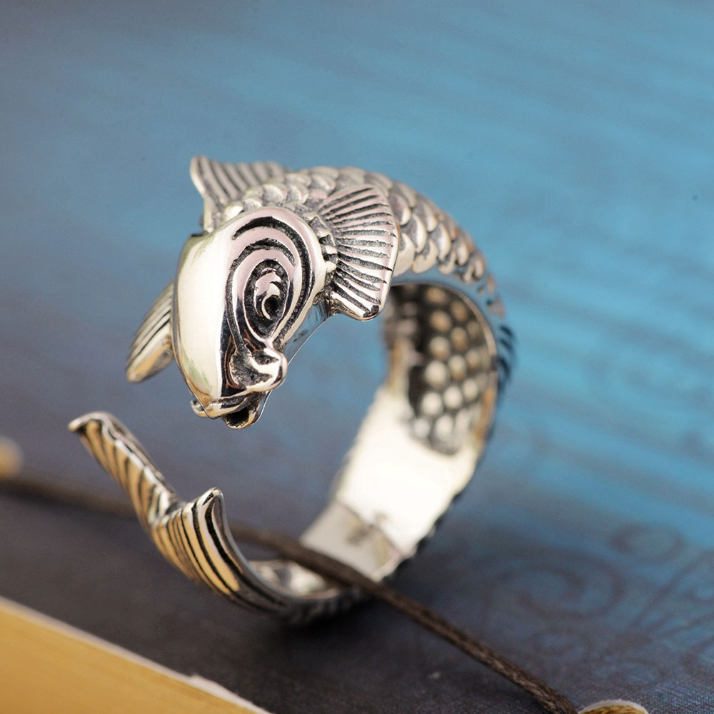 FNJ 925 Silver Fish Ring Lover s Original Pure S925 Sterling Thai Silver Rings for Women
