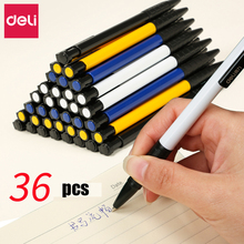 Deli 36pcs/pack blue Ballpoint Pen 0.7mm Pressed Ballpoint Pen Plastic Ball Pen School Student Stationery Office Supplies expression matchstick style plastic ballpoint pen white yellow