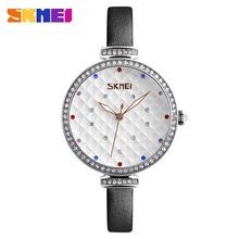 SKMEI Woman Watch Ladies Quartz Wristwatches Quartz Movement Rhinestones Dress Party Hours Leather Strap Waterproof Relogio