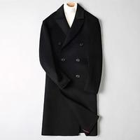 2018 зимние Для мужчин модные Бизнес двусторонний Шерстяной Тренч пальто куртка Для мужчин повседневные шерстяные Куртки шерсть Для мужчин б