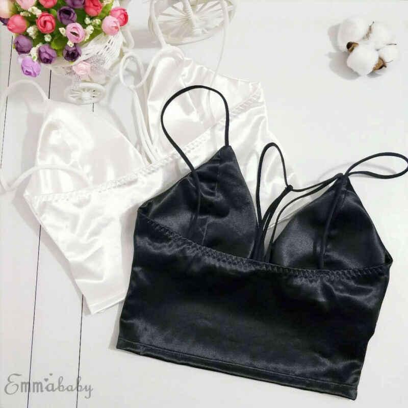 2 色ブラックホワイトサテンキャミトップス女性 Bralette ビスチェブラジャーベストシャツ V ネックの女性トップシャツ女性キャミソール