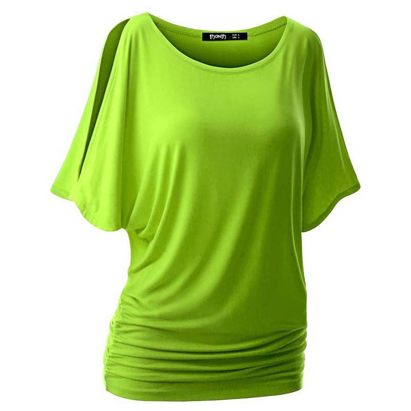 Primavera y Verano Para Mujer O-cuello de la Camiseta de Manga Corta Cuello Redo