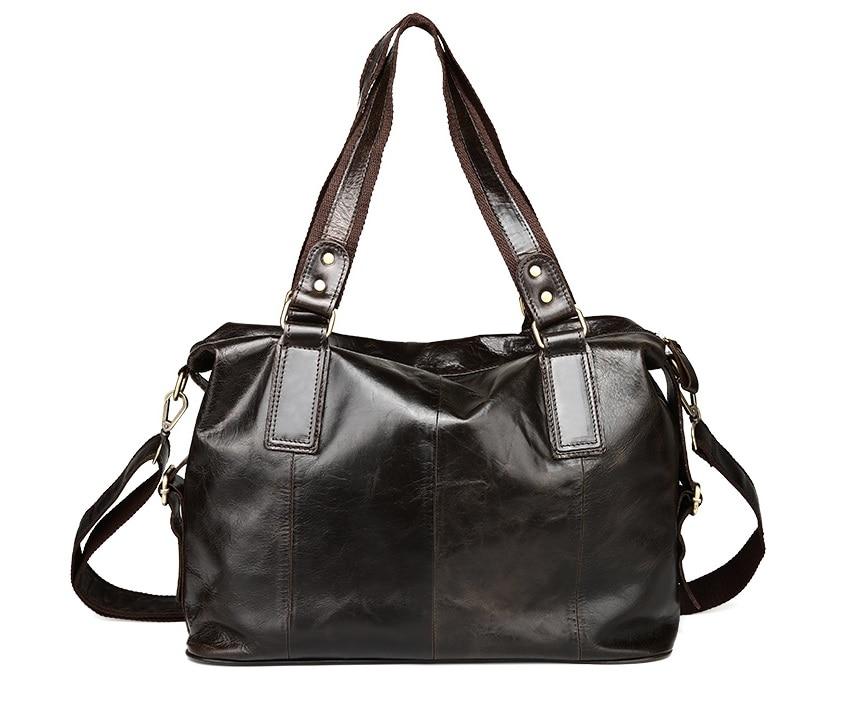Nesitu Vintage Dark Coffee Color Real Genuine Leather Women Handbags Cowhide Woman Totes Women Message Bags