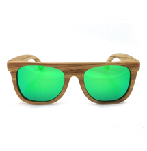 Laura Fairy Fashion Mirrored Cool Wooden Sunglasses Men Green Lenses UV400 Protection Pure Wood Sun Glasses 2016