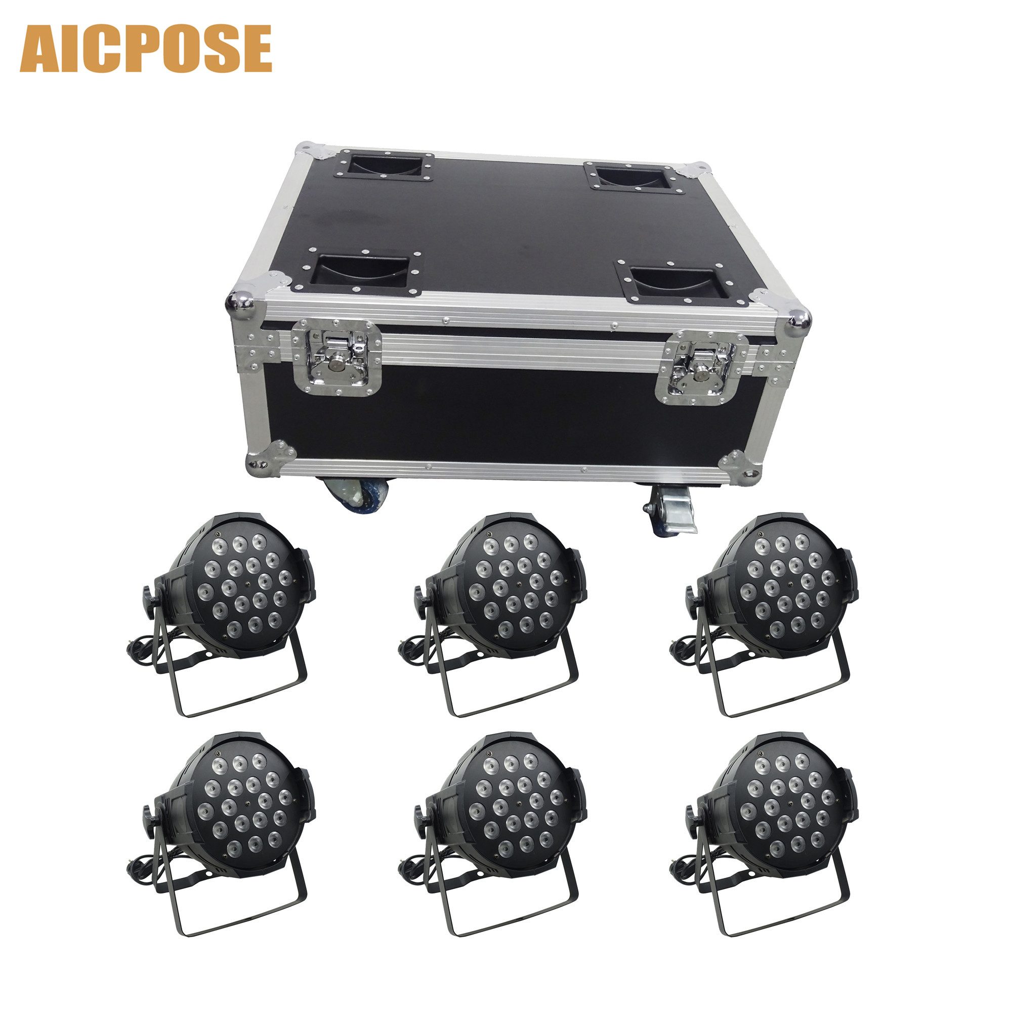 6pcs 18*12w Power in and out LED Par Lights 18x12W RGBW 4in1 Par 64 led spotlight dj projector stage light With flight case6pcs 18*12w Power in and out LED Par Lights 18x12W RGBW 4in1 Par 64 led spotlight dj projector stage light With flight case