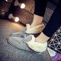 Pelúcia Apartamentos das Mulheres Mocassins Sapatos de Mulher Feminina Inverno Quente Camurça Dedo Do Pé Redondo Solas De Plástico Superstar Slip-On Casuais sapatos QX-1520