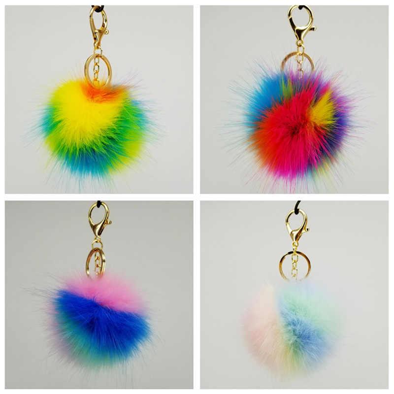 Rainbow Fofo Chaveiro Bola Pom Poms 8cm Sacos Chave Do Carro Chaveiro Bola Decorativa Pingentes para As Mulheres Acessórios de Festa de Casamento presente