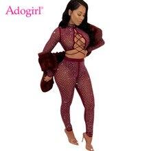 1bedbc0202 Adogirl diamantes pura malla de mujeres Sexy conjunto de dos piezas de manga  larga cuello de encaje Top + Pantalones de lápiz cl.