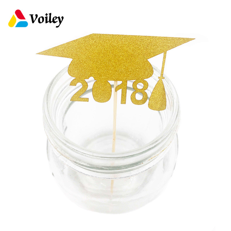 Graduation Party Hat Decoration 10pcs Glitter Star Cupcake Topper Baker Bamboo Sign Graduation Gift Souvenir Graduation Favors,5