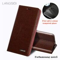 L ANGSIDI For Samsung note5โทรศัพท์กรณีผิวขี้ผึ้งน้ำมันกระเป๋าสตางค์พลิกยืนถือบัตรสล็อตซองหนังที่จะส่งโ...
