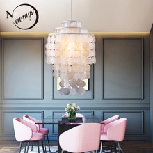 ФОТО 3 circle loft modern white natural seashell pendant lamp lustres fixture e27 lights shell lamps for bedroom living room kitchen