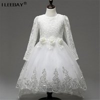 Girls Princess Flower Dresses For Wedding Party Bridesmaid Kids Bow Long Sleeve Girl Evening White Dress
