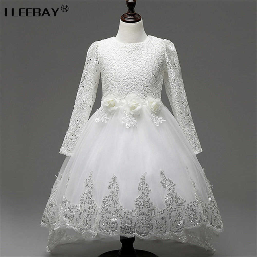 Girls Princess Flower Wedding Party Dresses Bridesmaid Kids Bow Long Tail Girl Evening White Dress Children Fashion Lace Costume