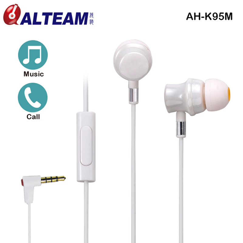 Pro ALTEAM Original Inear Cute 3.5 mm Ceramic White Color Music Earphones with Mic for iphone xiaomi lg apple samsung sony nokia