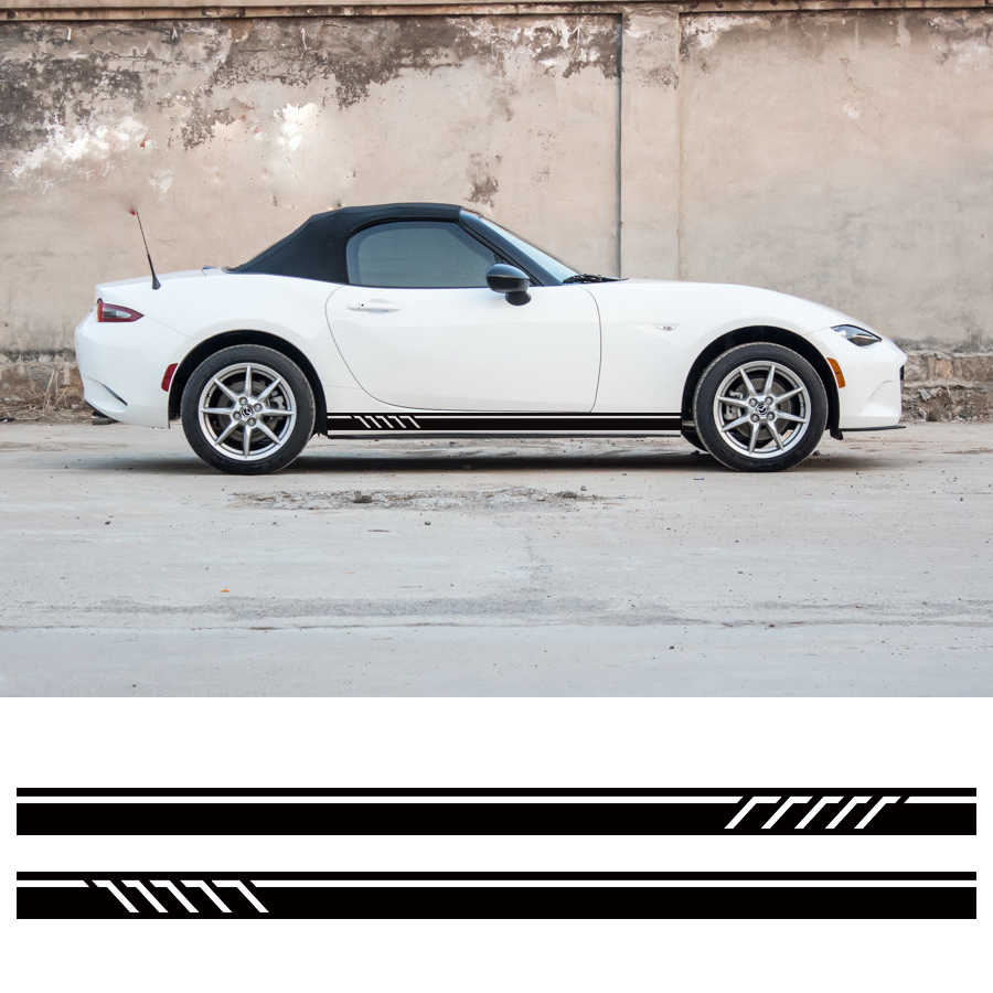 2pc rule styling stripe graphic vinyl personal cool racing side door car stickers for mazda mx