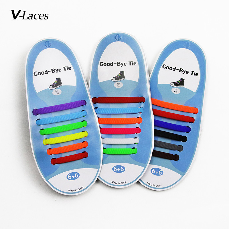 12pcs/pack Childrens & Kids Lazy Elastic Silicone Shoelaces No Tie Running SNEAKERS Strings Shoe Laces
