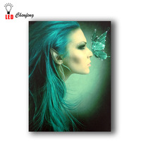 White fiber optic light nice green hairs with butterfly wall pictures Led Canvas Printing lighted up panting wall art decor Gift