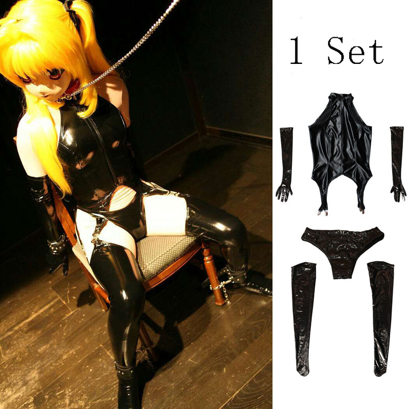 Anime Cosplay Maid Outfit 4PCS Set PVC Installed Shiny High Cut Bodysuit Catsuit Sexy Wear Erotic