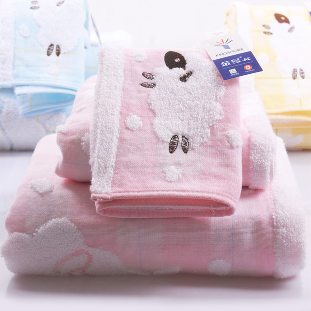 Child Baby Cotton Cartoon Sheep Towel Set 3Pcs Bath Hand Face Beach Pink towels  embroidery family