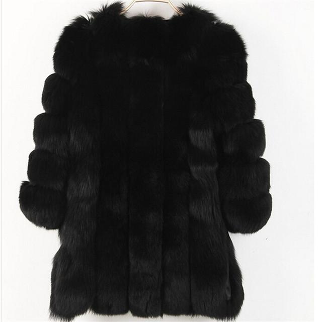 Women Winter Fluffy Faux Fur Coat High-Quality Thick Imitated Fox Fur Overcoat Female Warm Outwear
