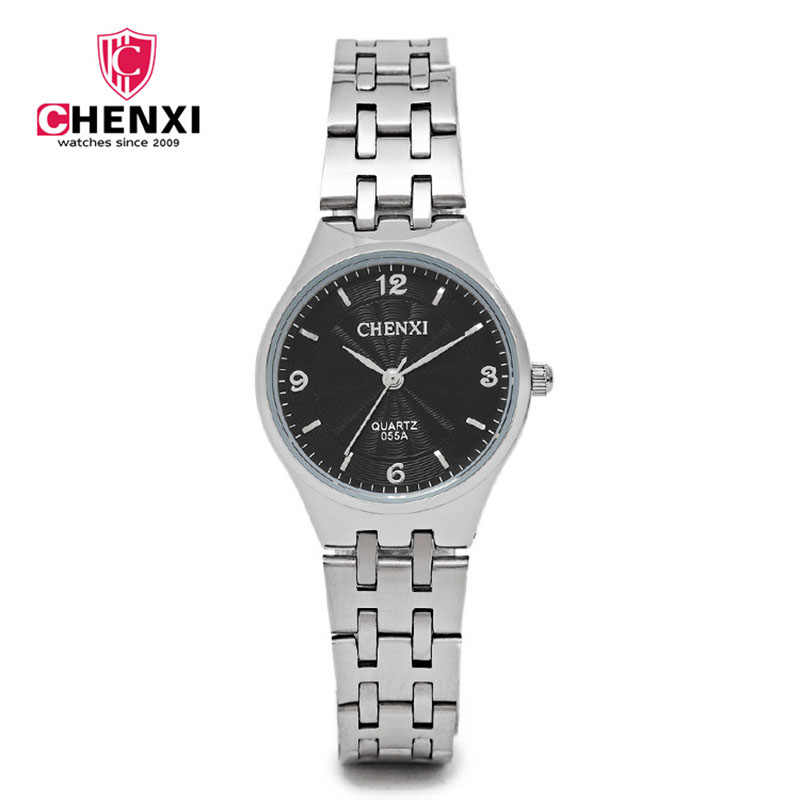 CHENXI Fashion Woman Casual Watch Silver Stainless Steel Ultra-thin Minimalism Unique Design Lady Wristwatch Nial Small Hour