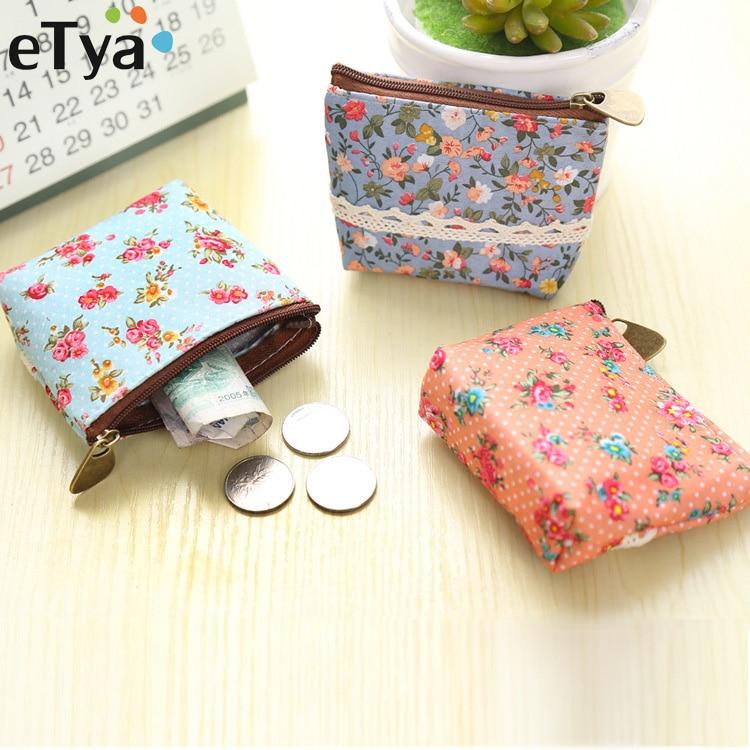 ETya New Women Purses Cute Zipper Small Flower Bag Female Girl Headset Line Coin Purse Card Bag Clutch Wallet Key Bags Wholesale