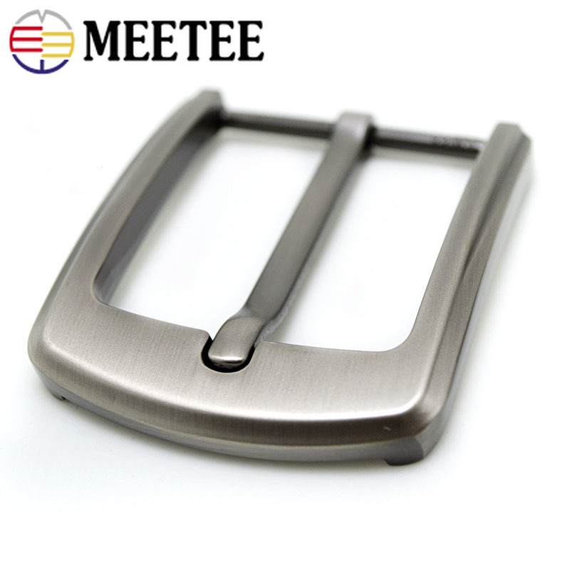 Meetee 40mm Width Metal Belt Buckles Brushed Pin Buckle Head for Men's Cowboy Hardware Accessories DIY Leather Craft Fit 37-39mm