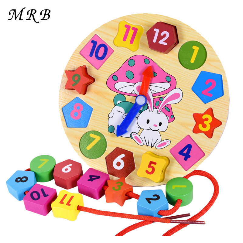 2017 Hot Sale Free Shipping Montessori rabbit form lacing alarm clock education toy wooden educational toys baby toy oyuncak