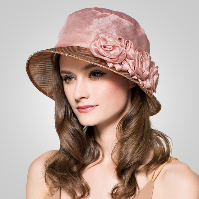 2016 Flores de Verano Uv Plegable Cubo Sombreros de Alta Calidad de Seda de la Princesa Del Verano Del Sombrero de Las Mujeres Sunbonnet del Casquillo de Ala Ancha B-3703