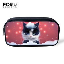 FORUDESIGNS Fantastic Cats Print Cosmetic Bag Cartoon Animal Pattern Lady Make Up Travel Girls Pen Bags Children Pencil