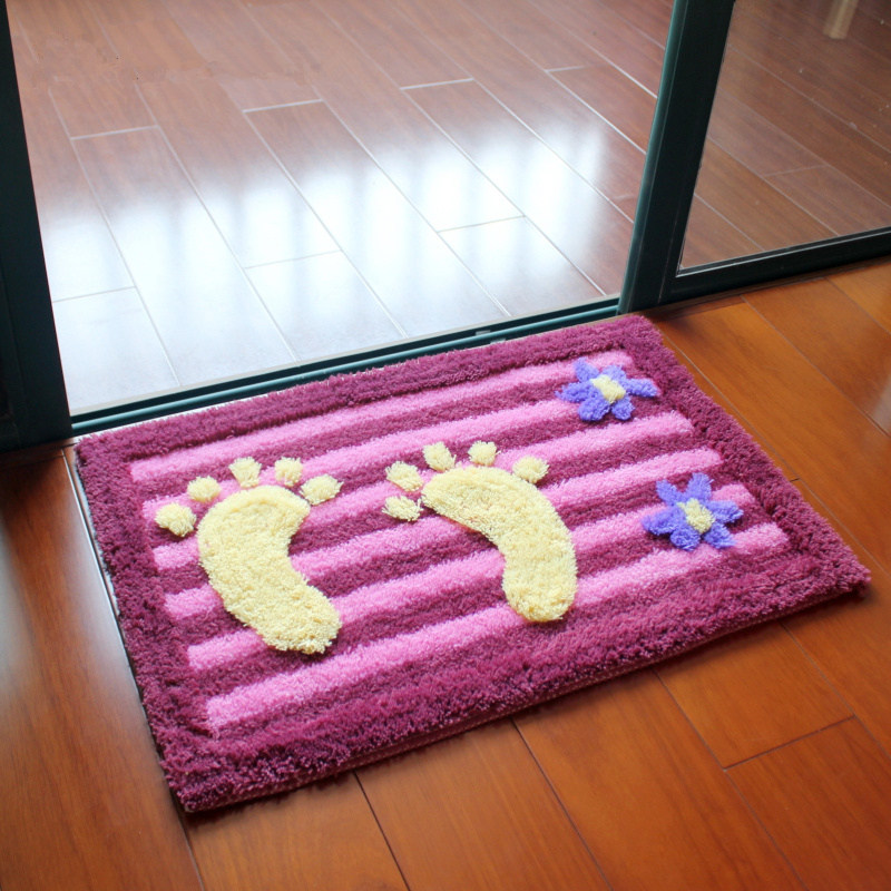 3D Large Foot Floor Bath Mat Toilet Carpets, Non Slip