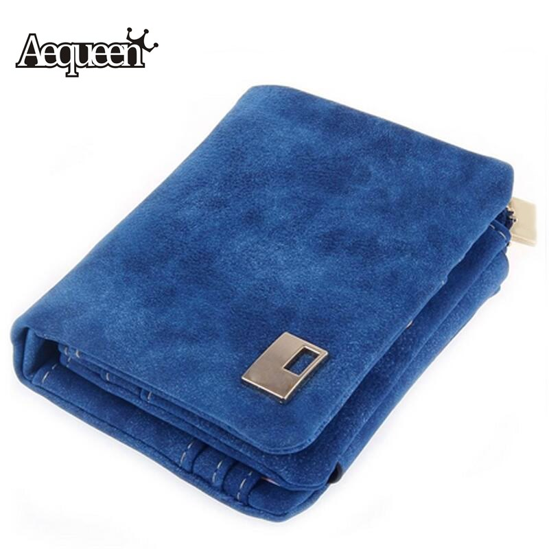 AEQUEEN Women Wallets Nubuck Leather Short Wallet 2017 New Fashion Multifunctional Lady Coin Purse ID Card Holder Small Purses