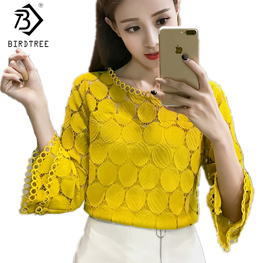 Hollow Out Lace   Blouses     Shirts   New Autumn Korean Women Clothing Flare Sleeves O-Neck Slim Female Apricot White Tops T7O009A