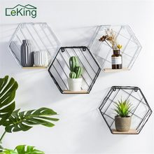Hemp Rope Partition Innovative Wall Hanging Shelf Organizer Hexagonal Iron Shelf Decoration Bathroom Home Shelf Etagere(China)