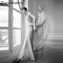 Ziwwshaoyu Elegant Mesh Long dresses V-Neck Spaghetti Strap Striped temperament Party dress Summer new womens
