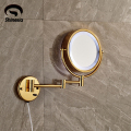 Golden Frame Wall Mount LED Make Up Mirror 3 * Magnifying 2 Sides Beauty Mirror