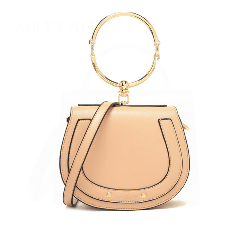 MICOCAH Women Metal Ring Hand Bag Fashion PU Leather Cross Body Bags Rivet Bag High Quality 3 Colors CH50004 metal ring pu leather tote bag