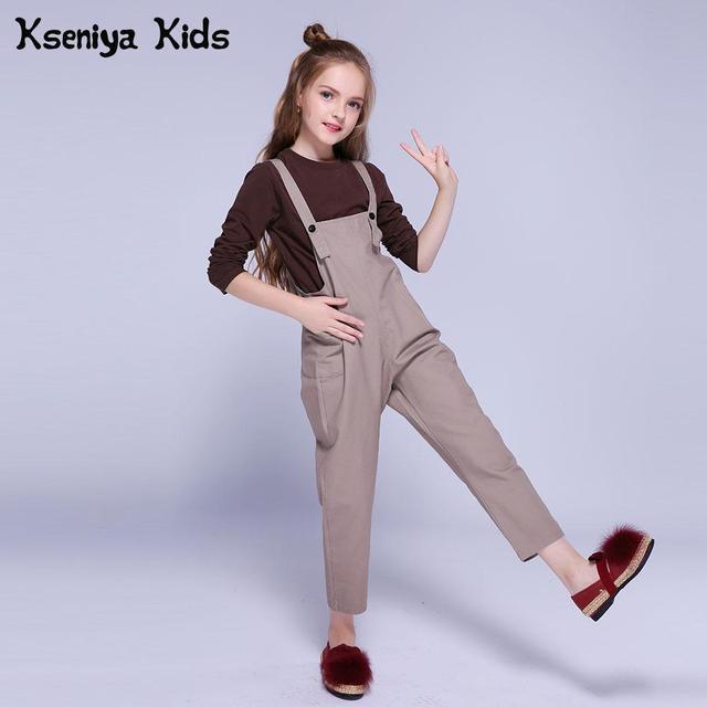 Kseniya Kids Clothes Autumn Winter Girls Clothing Sets Solid Cotton Long Sleeve T-shirt+Overalls 2 Piece Set Girl Clothing Brand