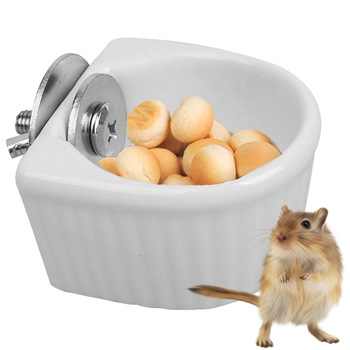Creative Ceramic Hanging Pet Food Bowl Non-Slip Anti-Turn Hamster Bowl Pet Feeder Bowl For Chinchill Gerbil Pet Feeding Supplies