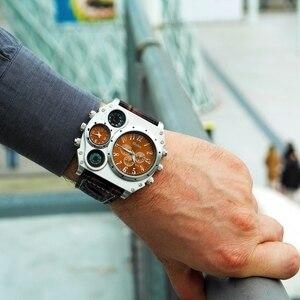 Image 2 - Oulm スポーツスーパービッグスタイルクォーツ時計男性デュアルタイムゾーン装飾温度計コンパス PU 男性の腕時計