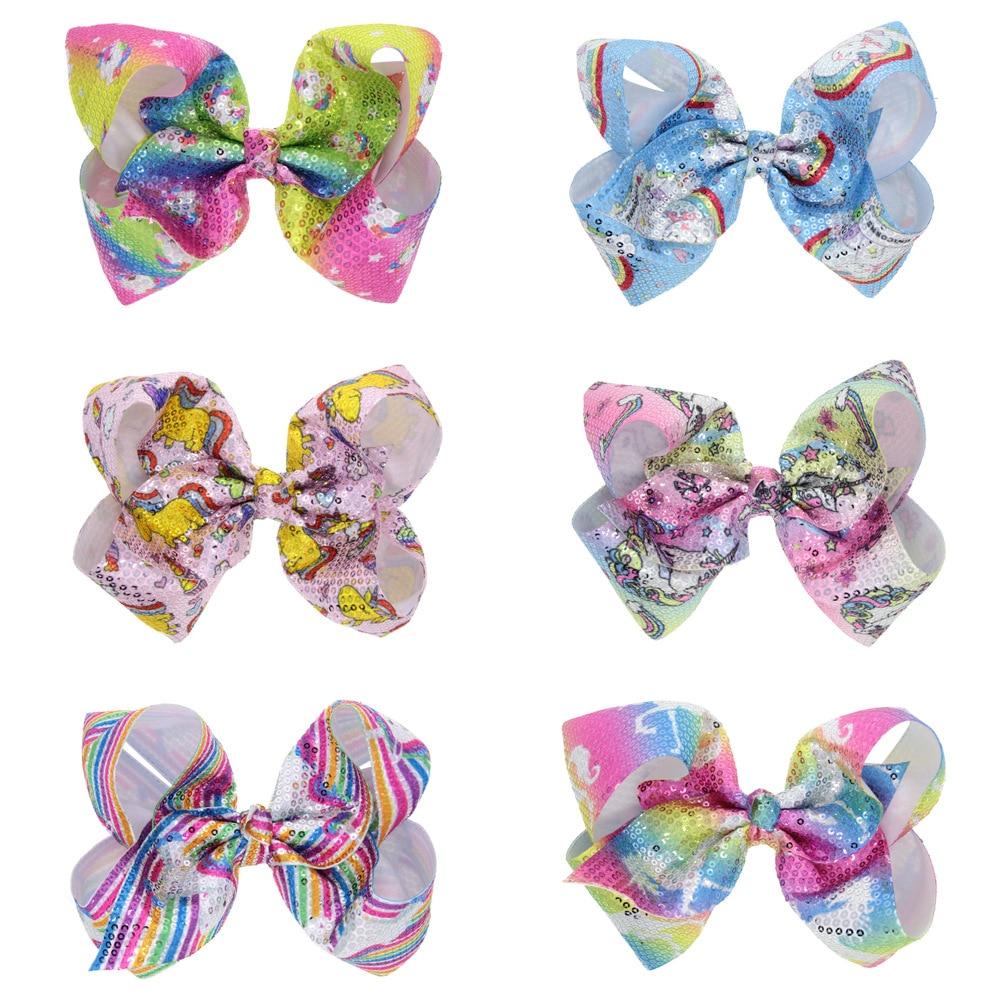 1PCS Baby Girl's Sequin Bow Hair Clip Unicorn Horn Large Bowknot Hairpins Hair Bows Children Headwear Hair Accessories