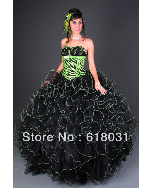 bafc9427db 2014 sweet 15 dress ball gown ruffles organza black zebra printed puffy  2014 quinceanera dresses SC-032